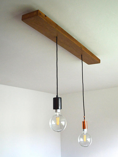 Designer Lights on Real recycled OAK wood piece 100 years old