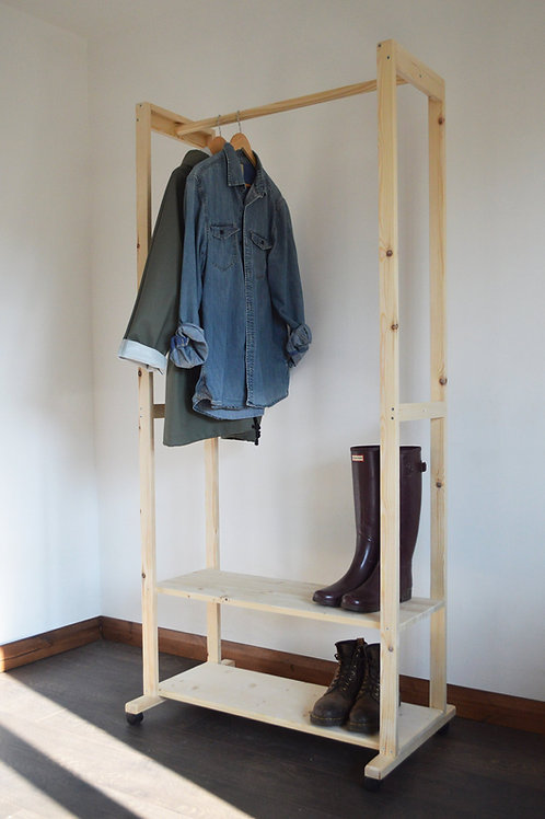 Hand Made Clothing Rail with 2 Hanging Poles and 2 shelves