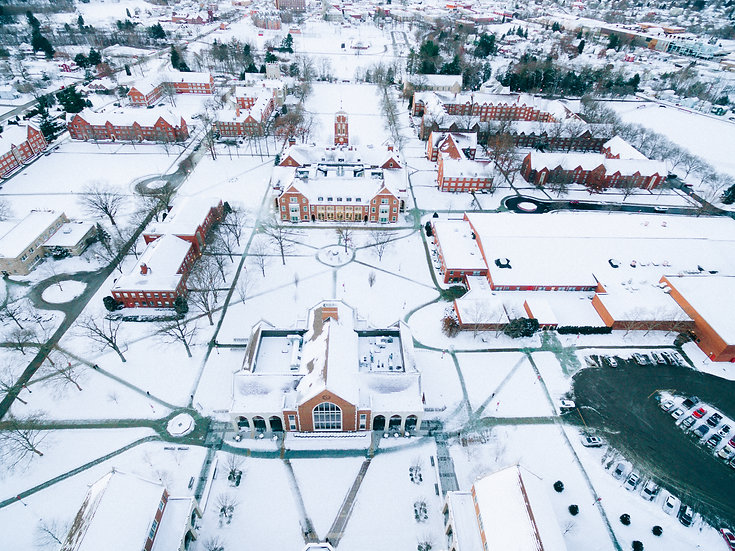 Grove City College covered in snow