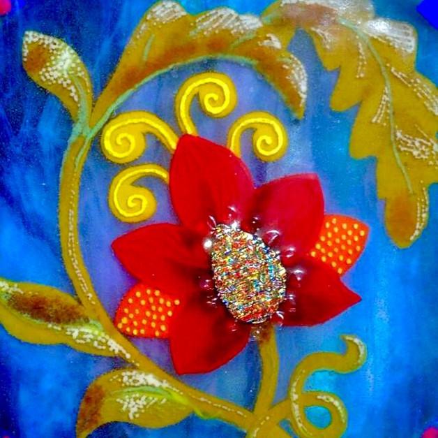 Sky Blue Flower Tile (SOLD)