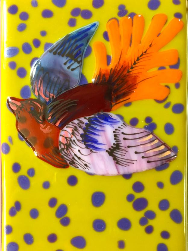 Bird Tile-Gldn Grn
