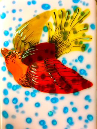 Bird Tile-Pink