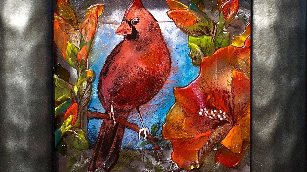 Cardinal and Hibiscus