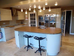 Pendant lighting in kitchen extension by Stelec Electrical