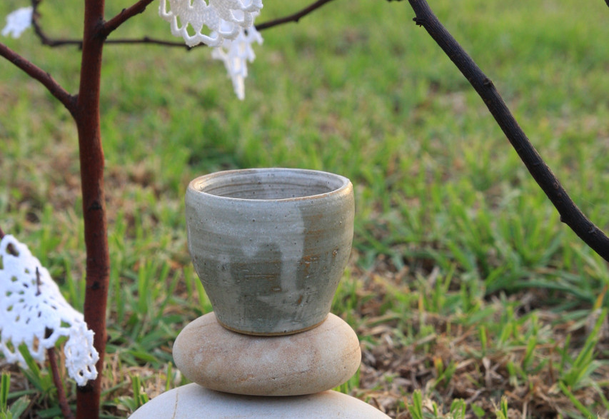 Traditonal Japanese Cup By Sami Porter and sample of The Lace Forest by Lynx and Littlehawk