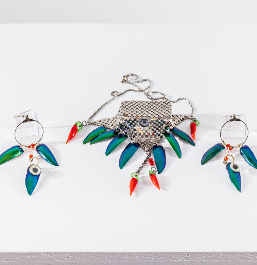 Necklace from DukGlam Movement, Glomesh, beetle wings, glass chilli peppers and toy eyes