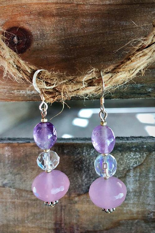 Sweet Mana Earrings Rose quartz & Amethyst