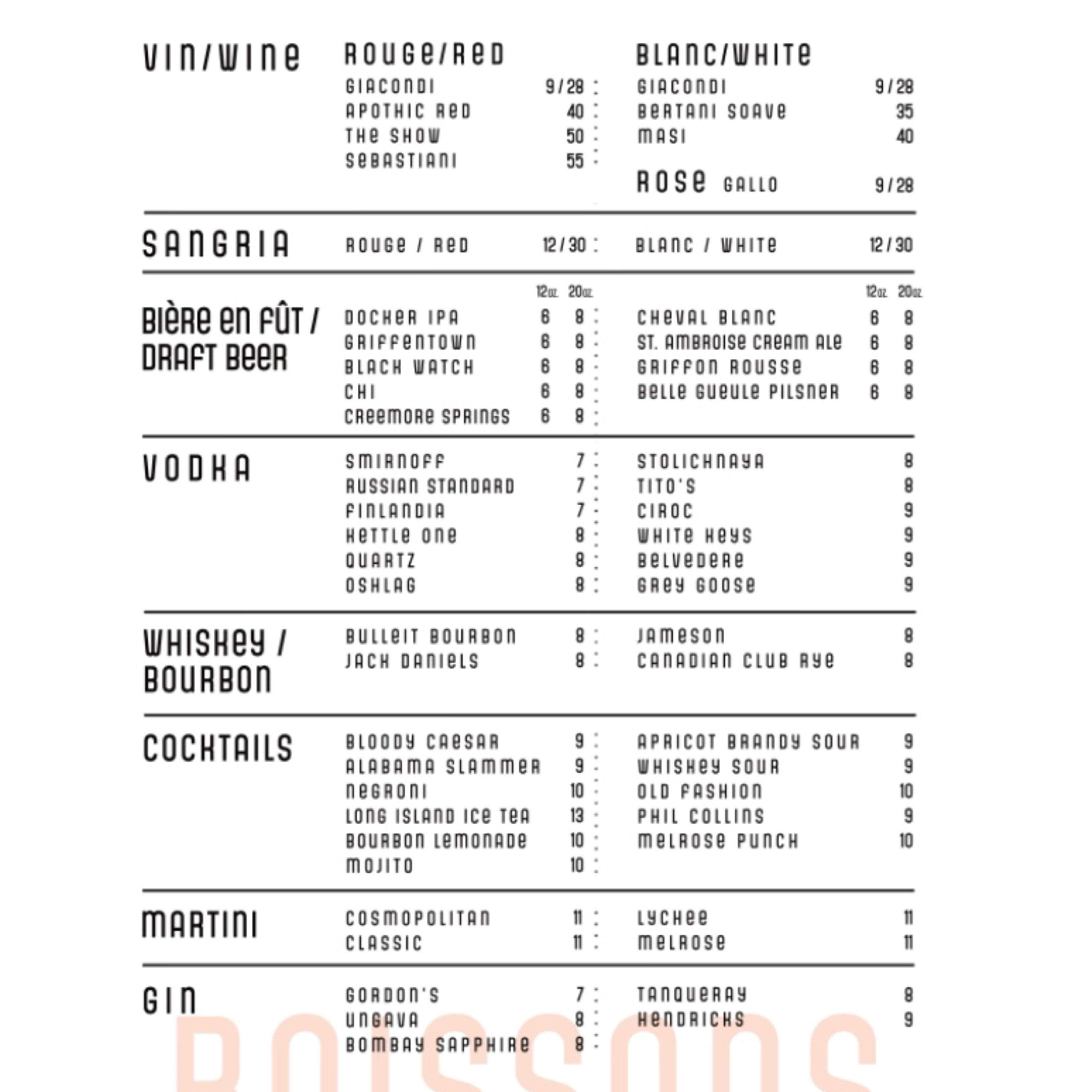 melrose drink menu