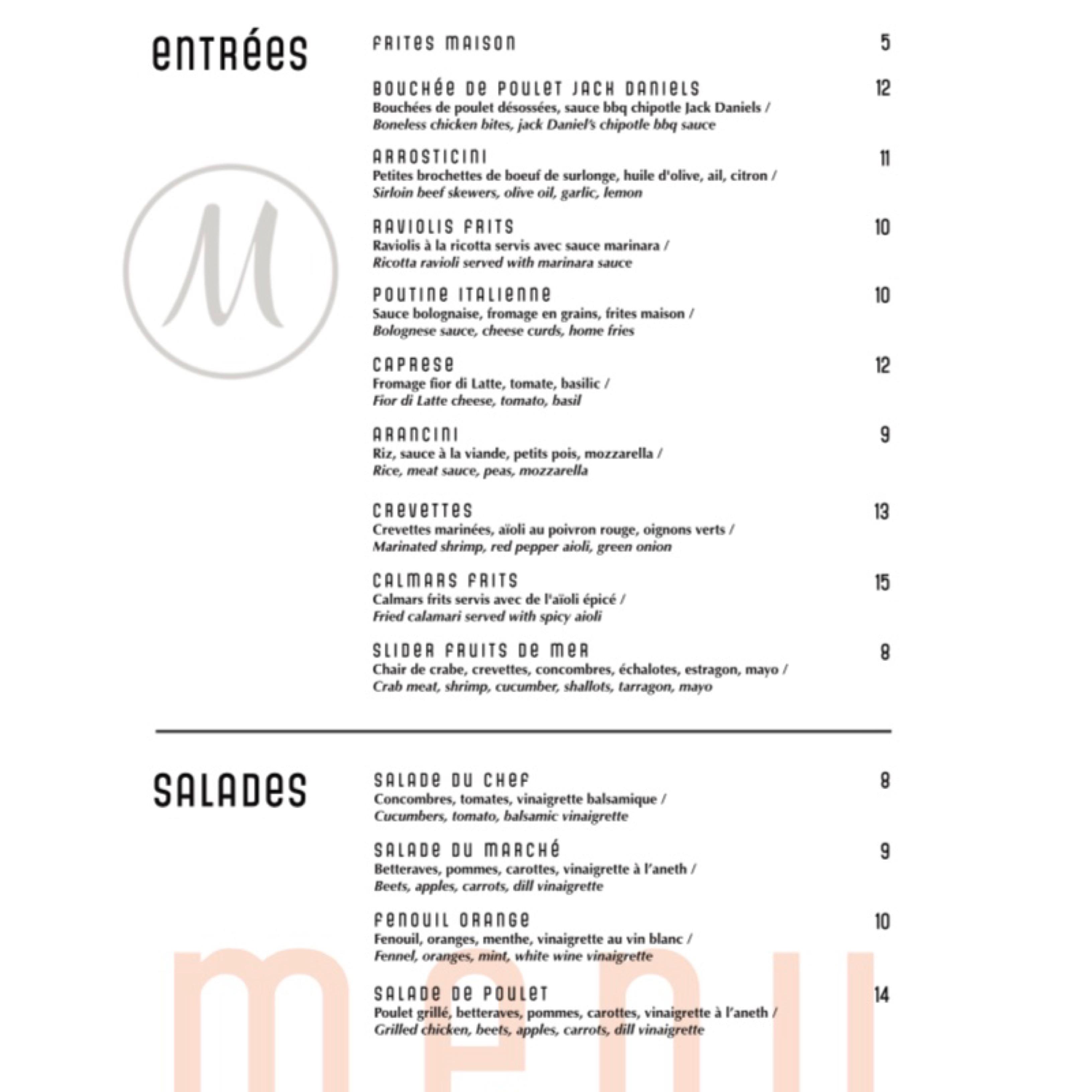 melrose menu