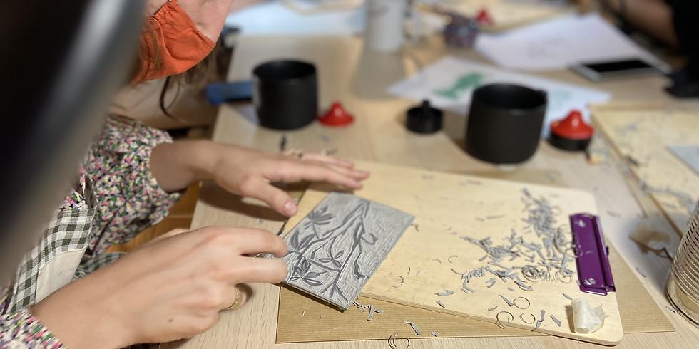 Gravure Linocut : impression avec presse de gravure et à la main :)