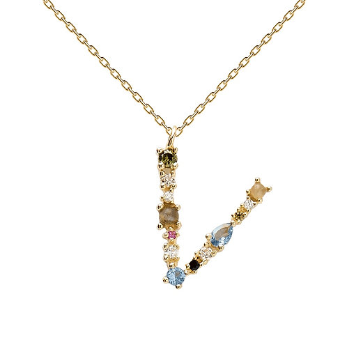 Letter Necklace Gold V