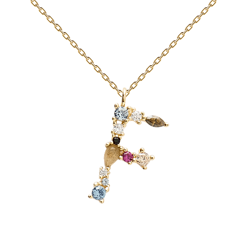 Letter Necklace Gold F