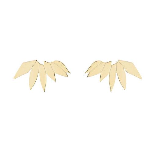 Großen Olivenblatt Ohrstecker Gold