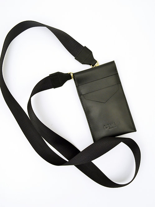 Leather Phone Bag with Strap Box Calf Black