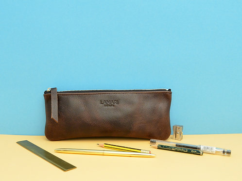 Leather Pencil Case Chocolate