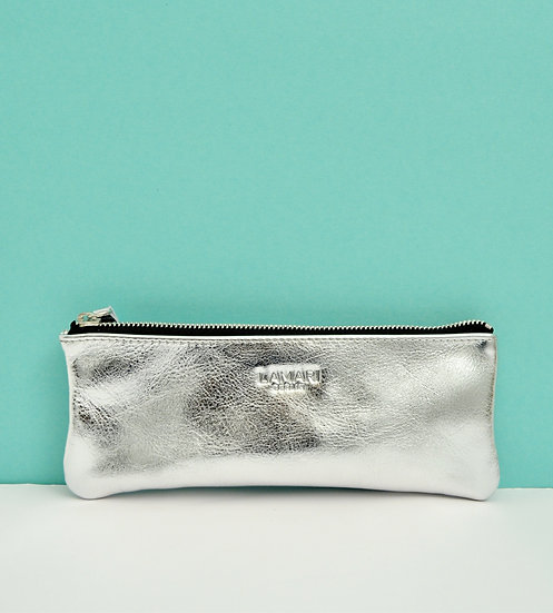 Leather Pencil Case Silver