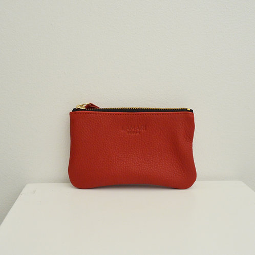 Leather Cosmetic Bag Red JUNE SMALL