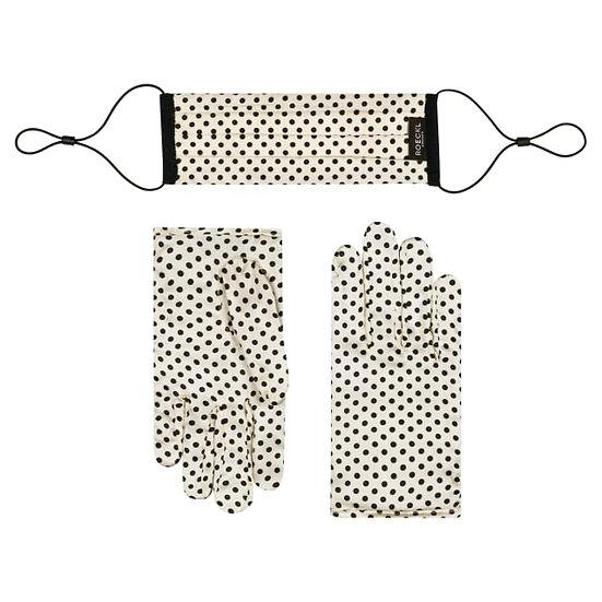 Polka Dots Maske und Seidenhandschuhe