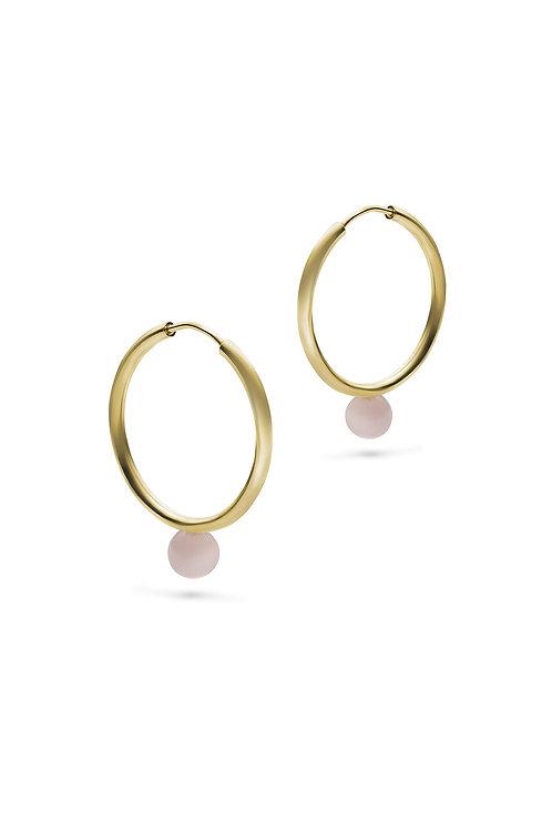 Luna Hoops Gold Rosenquarz