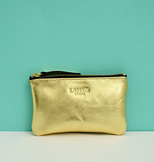 Leather Cosmetic Bag Gold JUNE SMALL
