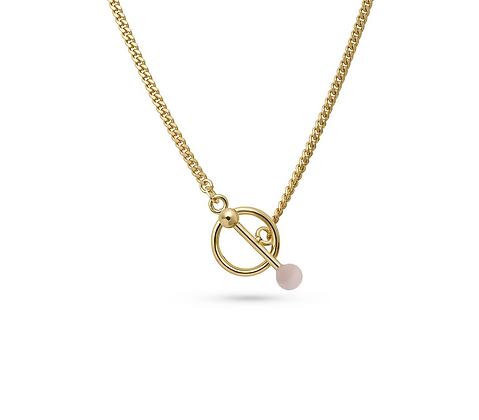 Mira Halskette Gold mit Rosenquarz