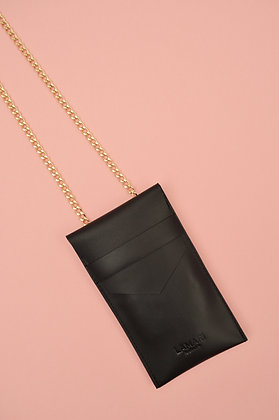 Leather Phone Bag with Chain Strap Box Calf Black