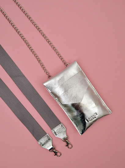 Leather Phone Bag with Strap Silver