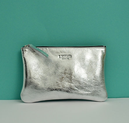 Leather Cosmetic Bag Silver JUNE BIG
