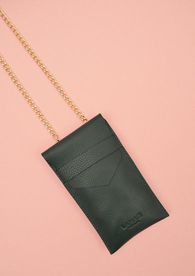 Leather Phone Bag with Strap Moss