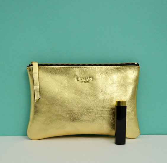 Leather Cosmetic Bag Gold JUNE BIG