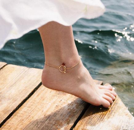 Mira Fußkette Gold mit Karneol