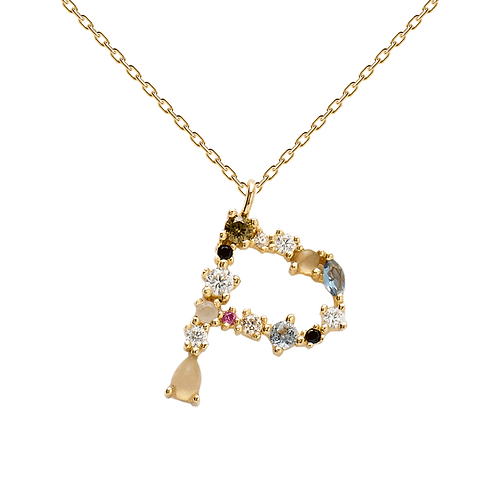 Letter Necklace Gold P