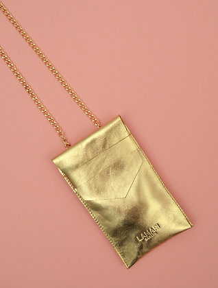 Leather Phone Bag with Strap Gold