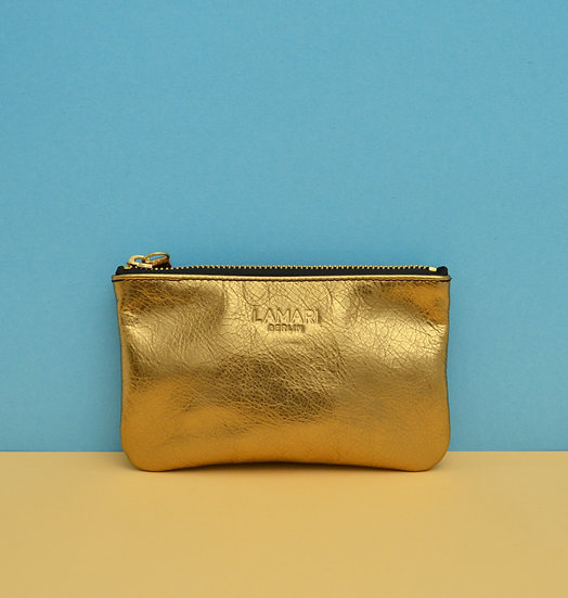Leather Cosmetic Bag Bronze JUNE SMALL