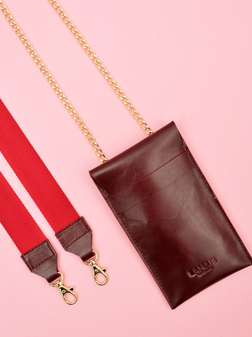 Leather Phone Bag with Strap Bordeaux