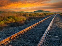Train Tracks at Sunset in Sonoma Baylands
