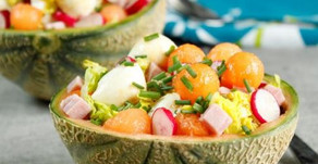 Melon garni mozzarella jambon sucrine, l'Italie dans le melon !