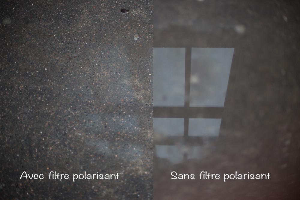 Sur l'image, on voit à gauche l'effet du filtre polarisant : il n'y a pas de reflet, on ne voit que le trottoir, et à droite, sans filtre polarisant, on voit bien le reflet d'une fenêtre