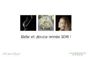 """Carte de voeu où on voit une femme enceinte en contre jour et noir et blanc, un bouquet de mariée sur un banc et un portrait type photo boudoir. Il est écrit """"Belle et douce année 2018 !"""""""