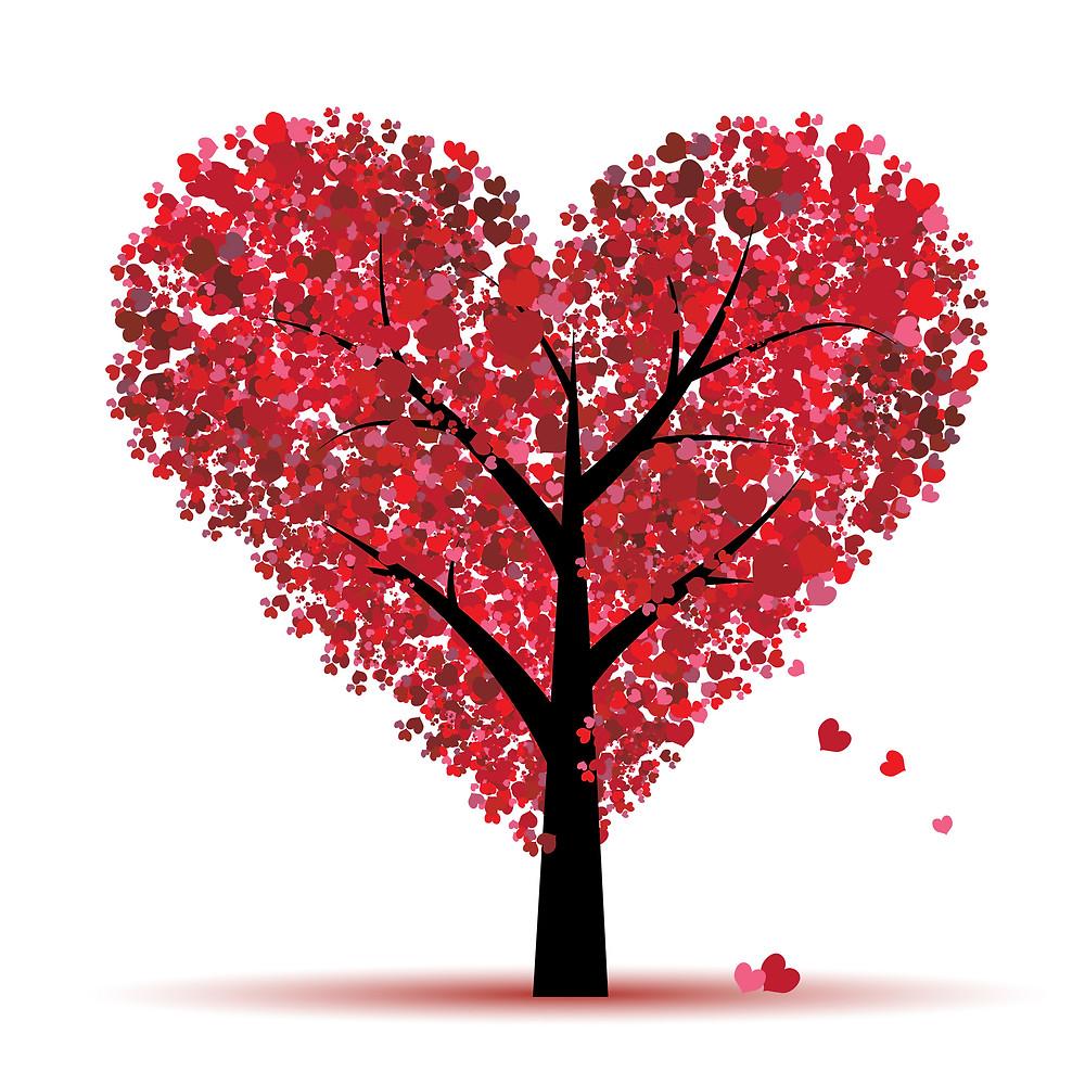 dessin d'arbre en forme de coeur dont chaque feuille est un coeur rouge