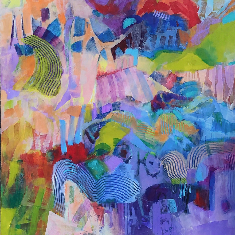 A colorful abstract painting with bright energetic colors at the top left hand cornertransitioning to softer blues and purples at the lower right hand corner.