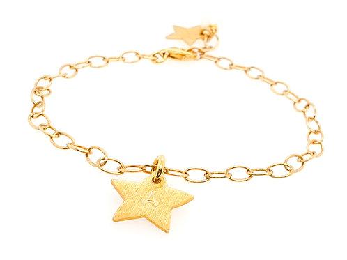 STJERNE - Personalisiertes Armband mit Stern mit Initial Silber vergoldet