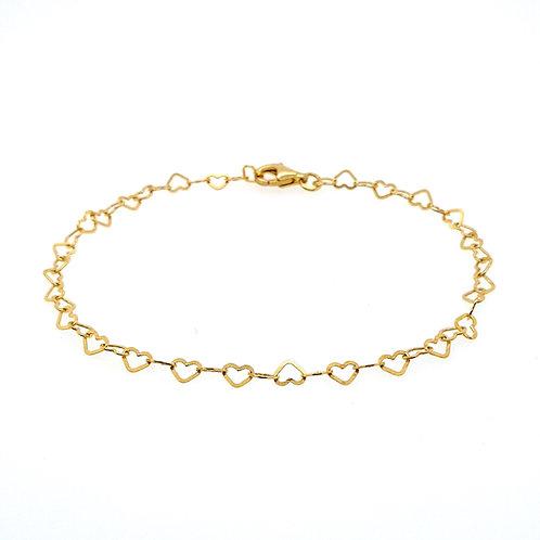 HJERTE - Süsses zierliches Herz-Armbändchen 925 Sterling Silber vergoldet