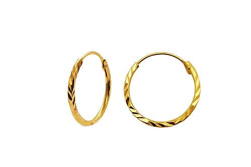 UNE MINI - Zierliche facettierte Creolen Silber vergoldet