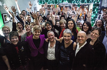 Humanist Ceremony Gay Wedding in Scotland, large crowd celebrating including Nicola Sturgeon