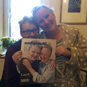 Front cover of the Sunday Herald featuring Gerrie and Susan Douglas Scott