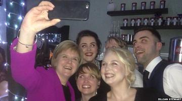 Nicola Sturgeon and Girl Gone International Anne Scott take a selfie