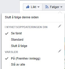Be om varsel på Facebook