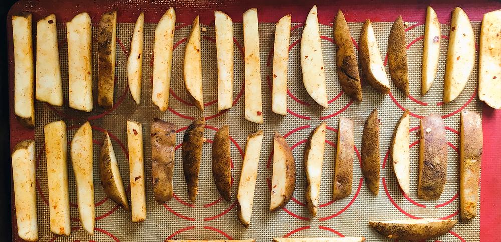 silicon mat, baked fries, oil free, vegan