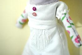 DSC_0022_edited.jpg, custom made rag doll, family heirloom linen dress, one of a kind doll, teesox rag doll